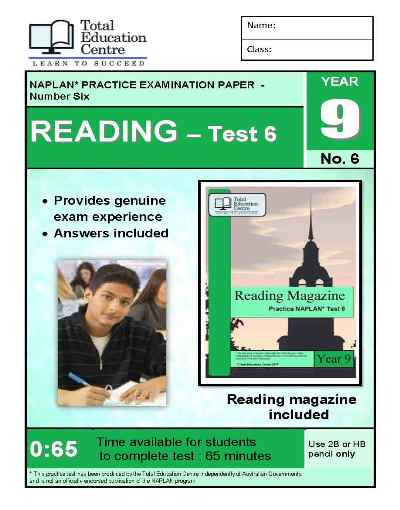 Year 9 NAPLAN Reading Test 6