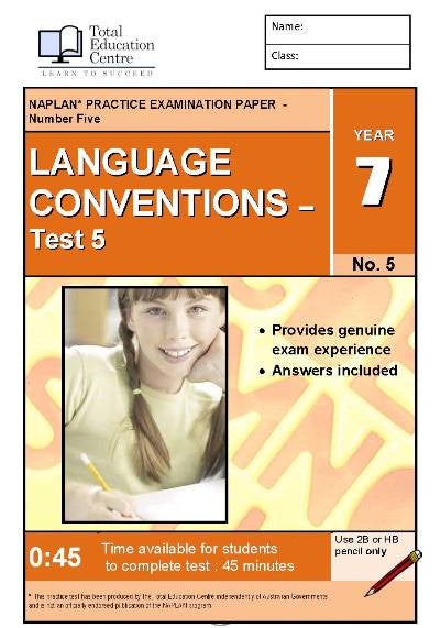 Yr 7 Language Conventions Test 5