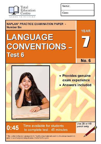 Yr 7 Language Conventions Test 6
