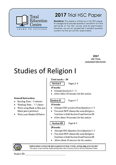 2017 Trial HSC Studies of Religion 1