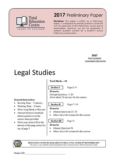 2017 Trial Prelim (Yr 11) Legal Studies
