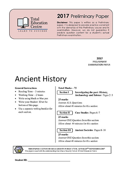 2017 Trial Prelim (Yr 11) Ancient History
