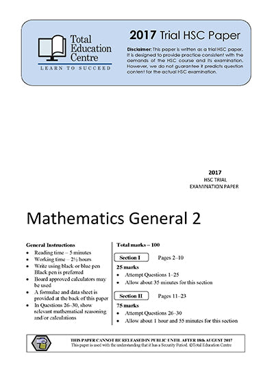 2017 Trial HSC General Mathematics