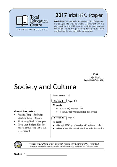 2017 Trial HSC Society and Culture