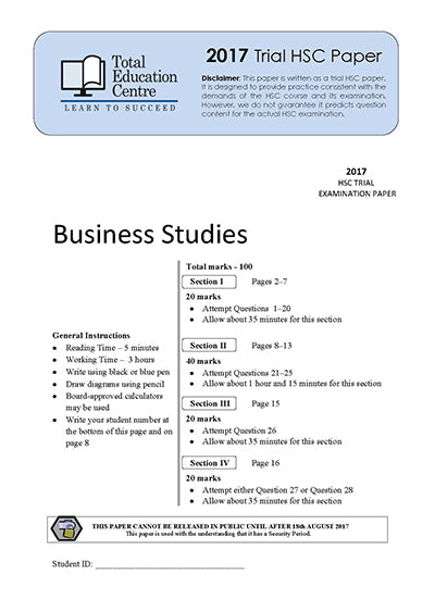 2017 Trial HSC Business Studies