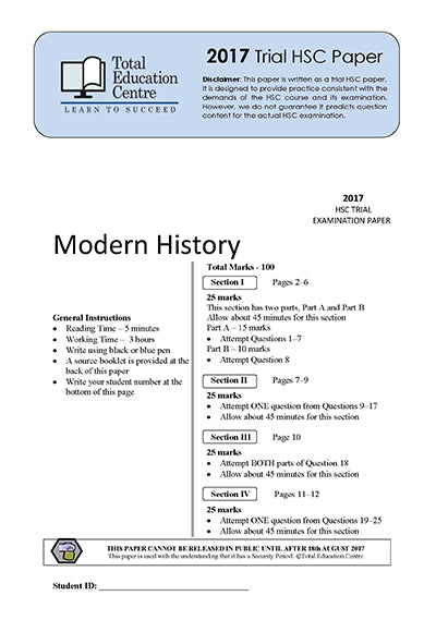 2017 Trial HSC Modern History