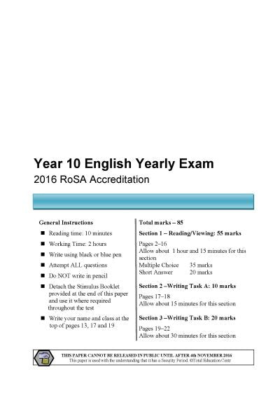 2016 Year 10 RoSA English Examination