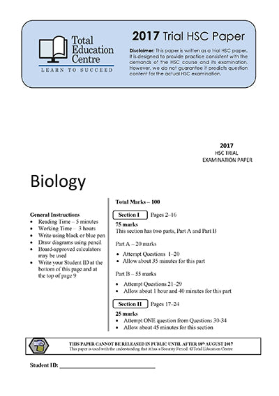 2017 Trial HSC Biology paper