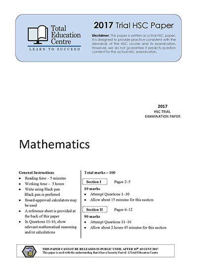 2017 Trial Mathematics paper