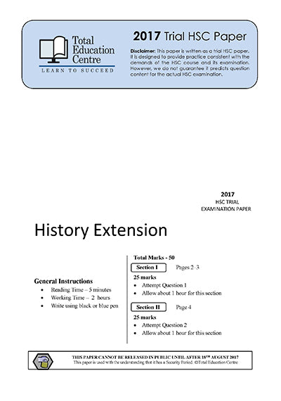 2017 Trial HSC Extension History