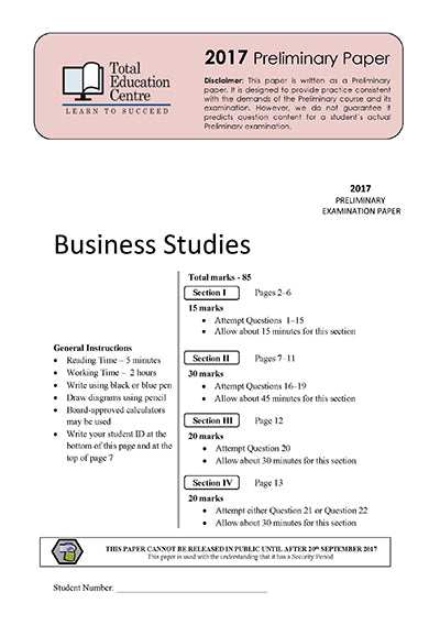 2017 Trial Prelim (Yr 11) Business Studies