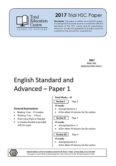 2017 Trial HSC English Adv Stand Paper 1 - Discovery