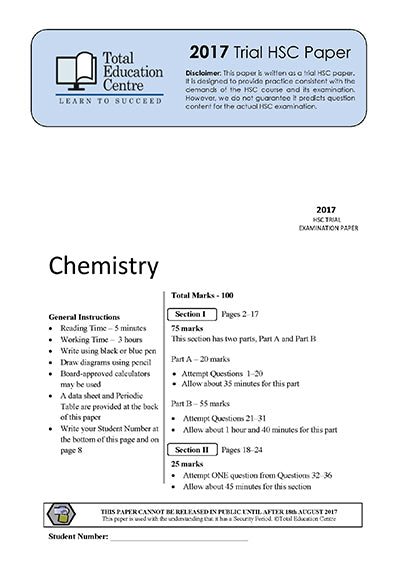 2017 Trial HSC Chemistry paper