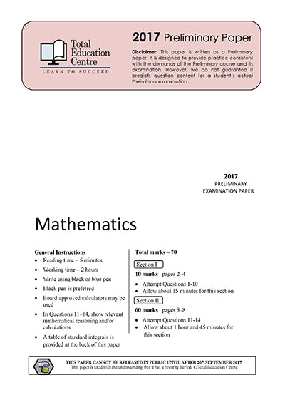 2017 Preliminary Mathematics (Yr 11)