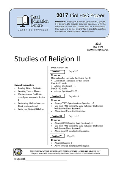 2017 Trial HSC Studies of Religion 2