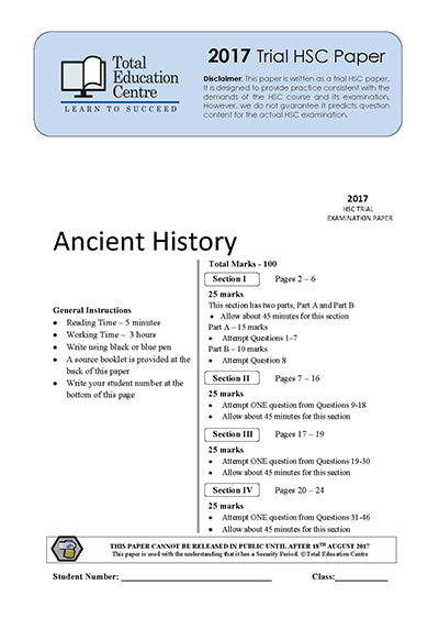 2017 Trial HSC Ancient History