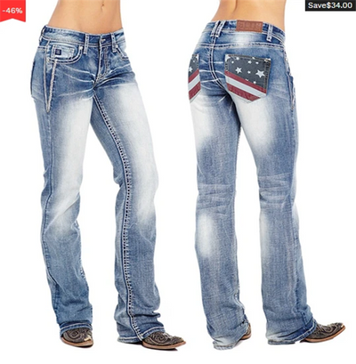 🔥Buy 2 Free Shipping -American Flag Stretch Washed Bootcut Jeans