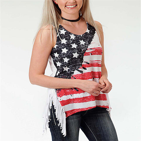【FREE SHIPPING】The special for Independence Day-Flag of the United States  Women's Fringe Vest Faux