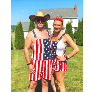 American flag overalls shorts(Only 58 pieces left in stock)