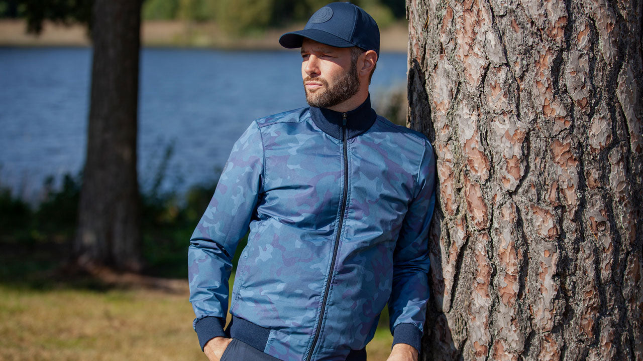 Galvin Green Lake Jacket | Blue Camouflage Bomber