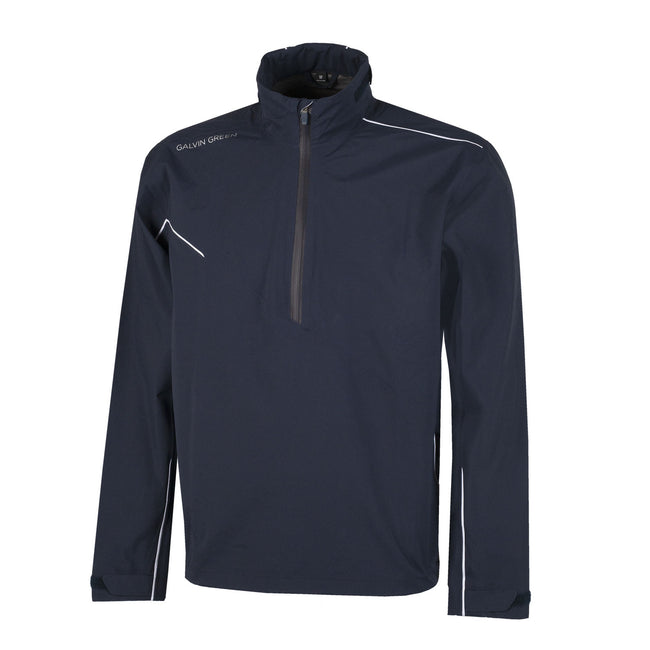 Galvin Green Aden Gore-Tex Paclite Golf Navy Jacket | Front view of jacket