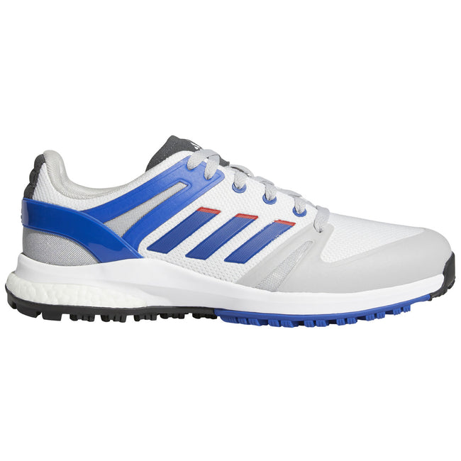 adidas EQT Spikeless Golf Shoes - White/Royal - 2021 | Side view of golf shoes