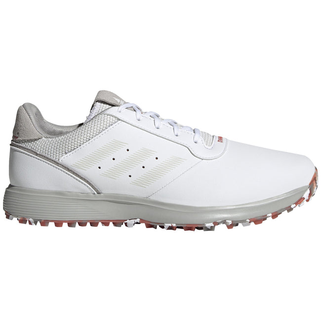 adidas S2G Spikeless Leather White Golf Shoes - SS21 | Side view of golf shoes