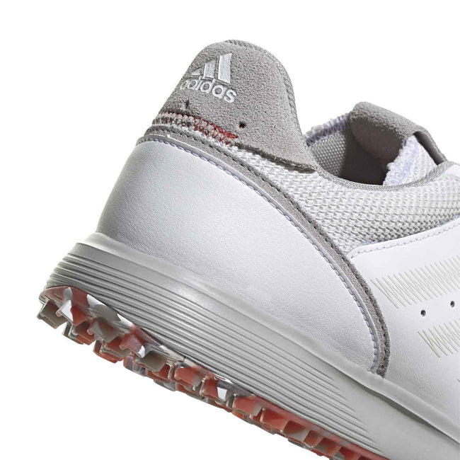 adidas S2G Spikeless Leather White Golf Shoes - SS21 | Heel profile close up