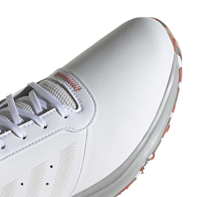 adidas S2G Spikeless Leather White Golf Shoes - SS21 | Close up of toe profile