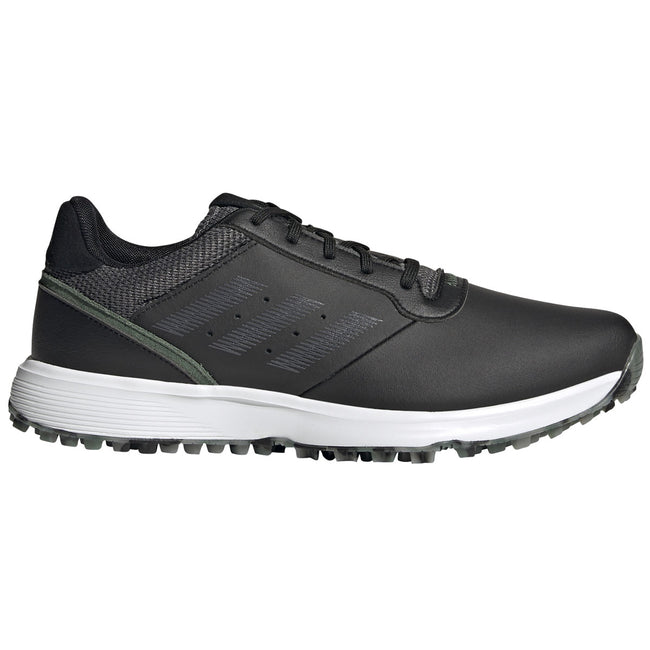 adidas S2G Spikeless Leather Black Golf Shoes - SS21 | Side view of golf shoes