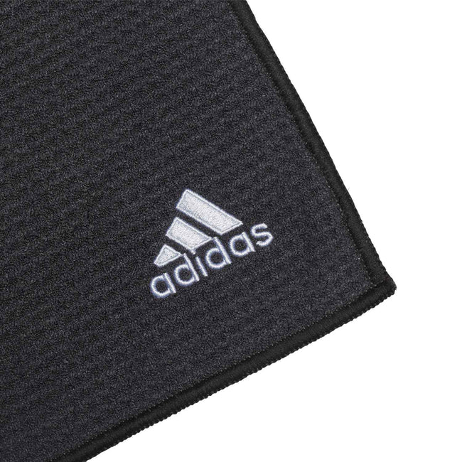 adidas Microfibre Golf Towel - Black SS21 | Close up golf towel logo