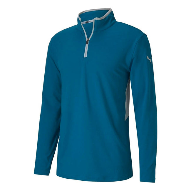 Puma Golf Rotation 1/4 Zip Digi Blue Pullover | Front View of Pullover