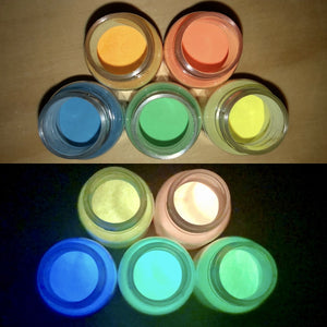 Colorful, Glow-in-the-Dark Powder (orange, blue, yellow-green, golden-yellow, green)