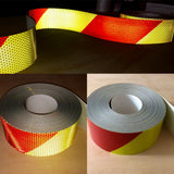 "Chevron V98 Pre-striped Reflective Tape 3"" by the Foot - Red/Yellow"