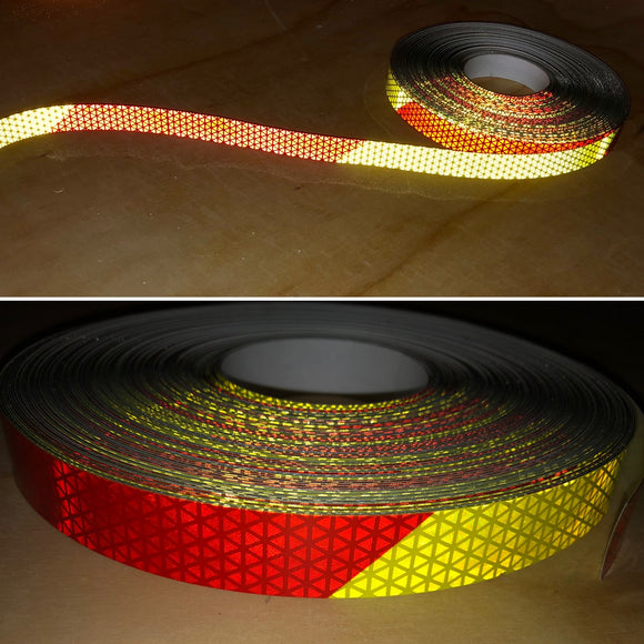 "Chevron V98 Pre-striped Reflective Tape 1"" by the Foot - Red/Yellow"