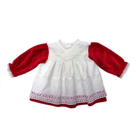 Vintage 90s Red and White Lace Dress | 0-6 Months