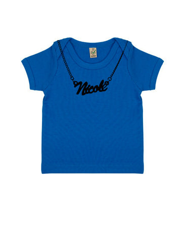Baby 'Chain Necklace Custom Name' Organic T-Shirt | Blue