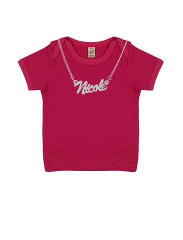 Baby 'Chain Necklace Custom Name' Organic T-Shirt | Pink