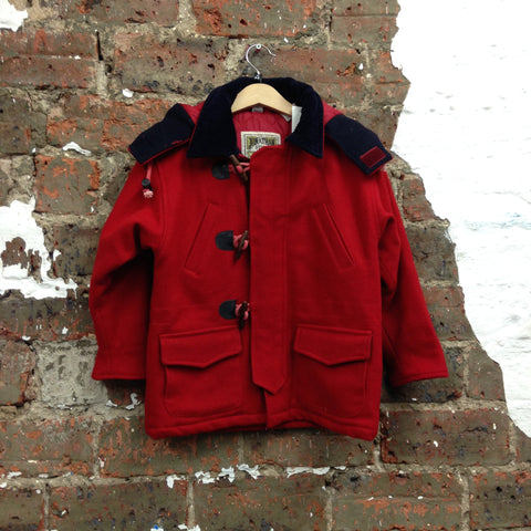 Classic Vintage Red Duffle Coat With Hood