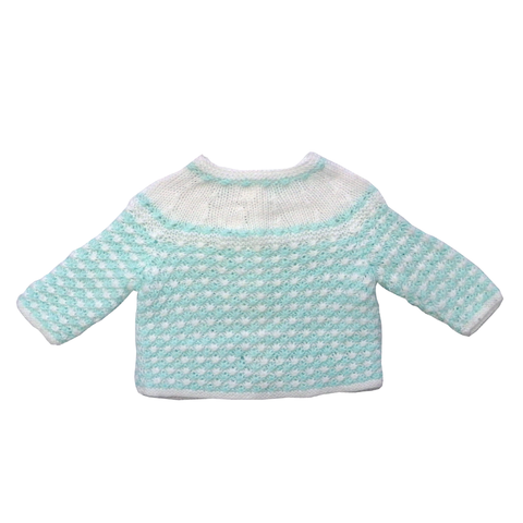 Vintage Green and White Hand Knitted Cardigan | 18-24 Months