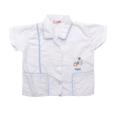 Vintage White Cotton Embroidered Shirt | 9-12 Months