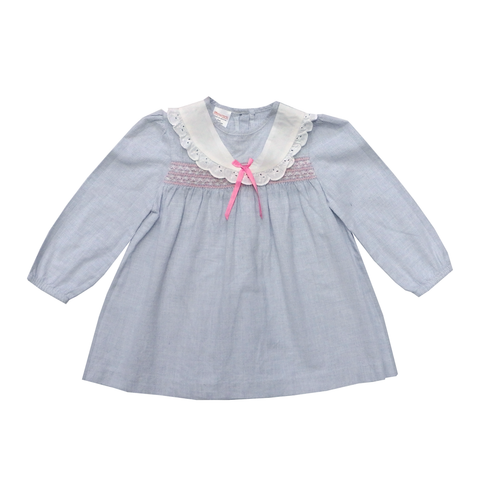Vintage Blue Blouse with Collar and Pink Detail | 18-24 Months
