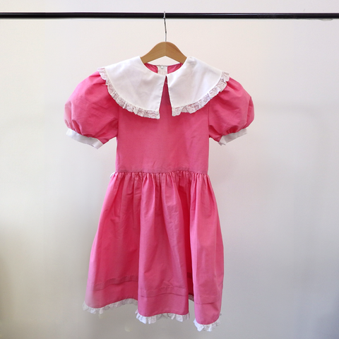 Vintage Pink Dress with White Collar