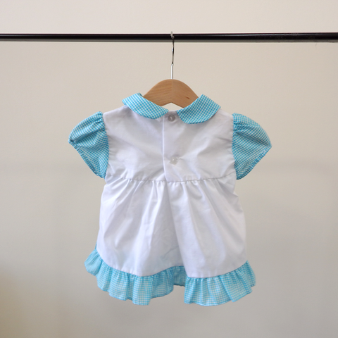 Vintage 50s Blue Gingham Bunny Dress with Bloomers | 0-6 Months