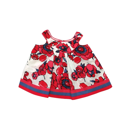 Monsoon Red and White Floral Baby Dress | 3-6 Months