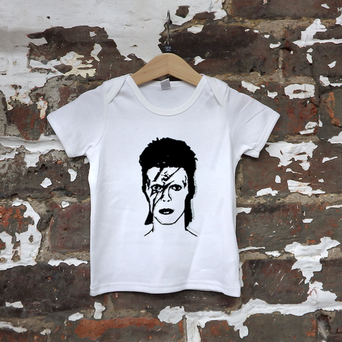 Ziggy Stardust Kids Organic T-Shirt | White and Black Sparkle
