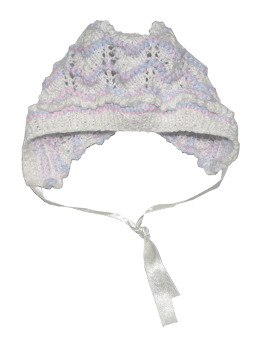 Vintage Knitted Bonnet - White With Pink & Blue
