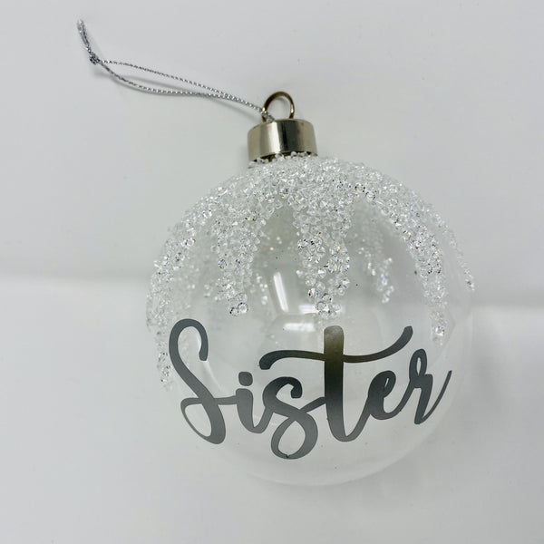 Personalised glass sparkle bauble