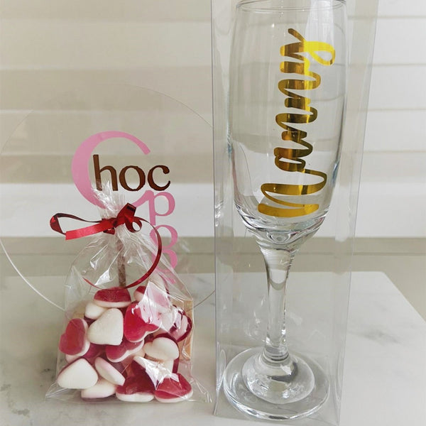 Personalised Prosecco glass filled with sweets