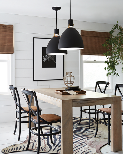 17W Matte Black Pendant Lights with Leather Accents